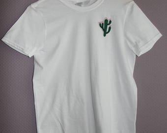 T-Shirt with Kaktus Patch black/white Men/Women