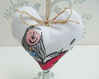 Handmade Matilda Fabric Heart, Lavender Heart, Hanging Heart, Roald Dahl Door Hanger