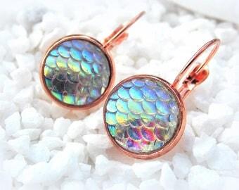 Cabochon earrings Mermaid Rose