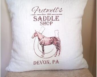 Feed Sack Pillow. Farmhouse Pillow Cover. Custom Pillow Cover. Horse Pillow. Fixer Upper Style.