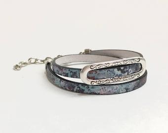 Leather 2 wrap bracelet or chocker