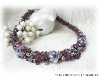 Purple designer flower seed glass beaded necklace