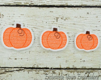 Pumpkin Feltie Set of 4 - Hair Bow Supplies - Clippie Cover - Badge Reel Cover - Craft Supply - Scrapbook - Card Making - Planner Clip