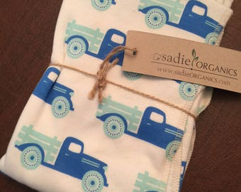 Antique Trucks Organic Cotton Baby Super Soft Jersey Swaddle Receiving Blanket