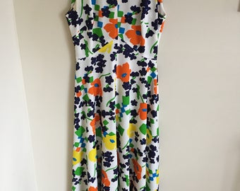 Vintage Funky Floral Polyester Maxi Dress Womens