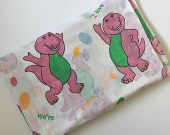 Vintage Barney Twin Flat Bedding Bed Sheet