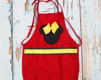 Child Apron Minnie girl aprom Name girl apron  embroidery apron girl apron  toddler girl apron, Youth Apron Child's,