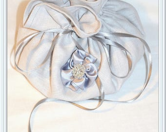 Pure linen pouch and a flower and rhinestones for evening or wedding jewelry