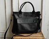 Black leather bag - leather handbag - bag with zipper - crossbody bag with zipper