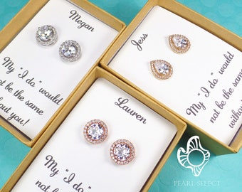 Bridesmaids Gifts,Bridesmaids Earrings,Cubic Zirconia earrings,Crystal Stud Earrings,Personalized Bridesmaids Gift set,bridal party gift