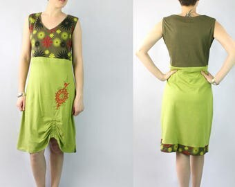 Green Cotton Dress with Flower Prints