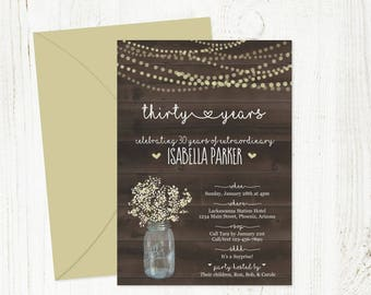 Printable Birthday Invitation Template for Women / Woman - Rustic Wood Mason Jar Download 16th 21st 30th 40th 50th 60th 70th 80th 90th 100th