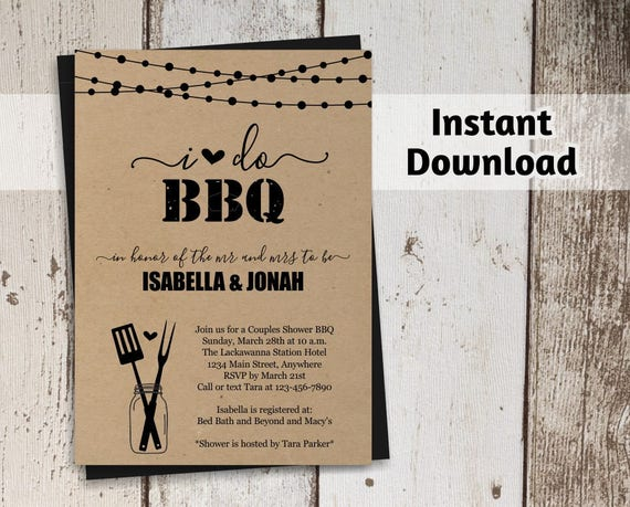 i do bbq invitation template couples wedding bridal shower. Black Bedroom Furniture Sets. Home Design Ideas