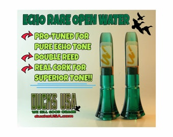 Echo Duck Call Insert Polycarp Rare Green Open Water Double Reed Pro Tuned for Pure Echo Tone!! Bolder and Louder Open Water!