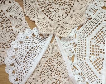 Vintage White + Cream Neutral Crochet Doily Bunting Wedding Party Decoration Garland 3m