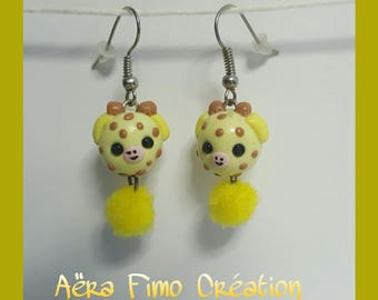 Small yellow giraffe polymer clay earring