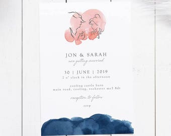 Sample Watercolour Wash Beauty & The Beast Wedding Invitations!