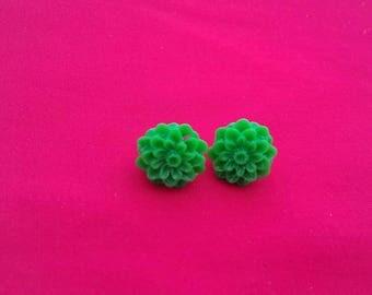 Green Flower Resin Stud Earrings, Bright Green Fashion Jewellery, Fancy Dress Studs, Flower Jewelry, Unusual Floral Studs, Quirky Earrings
