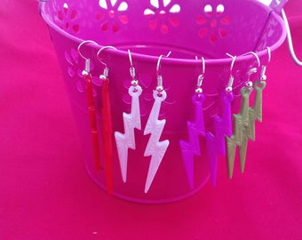 Bright Lightning Bolt Drop Earrings, 80s Fashion Fancy Dress, Fashion Dangle Earrings, Red, White, Green, Pink Jewelry, Neon Jewellery,