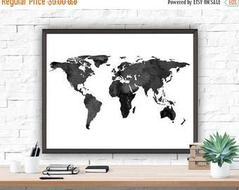 SALE Home Decor World Map Poster Watercolour Grey Home Decor Map Printable Instant Download Wall Decor Home & Living Printable Map Poster