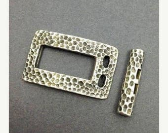 SALE 10% OFF 1 buckle clasp, silver, 35mm, 1 piece, black patina, square, clasp, rectangular, angular, PIN