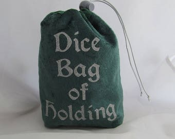 Dice Bag Pouch Velvet Dungeons and Dragons D&D RPG Role Playing Die Green Dice Bag of Holding Reversible Lined