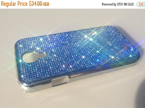 Sale Galaxy S4 Blue Sapphire Rhinestone Crystals on Silver Chrome Case. Velvet/Silk Pouch Bag Included, Genuine Rangsee Crystal Cases.