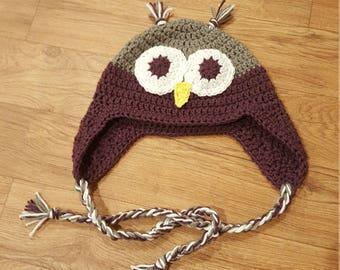 Crochet Owl Hat - Trapper hat - Kids winter Hat - Sizes Newborn-Adult - Animal Crochet Hat