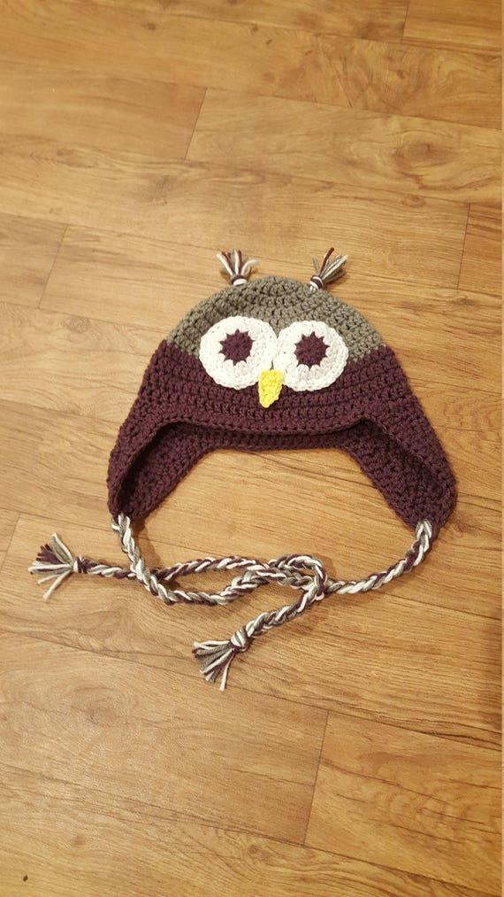 Crochet Owl Hat Trapper Hat Kids Winter Hat Sizes