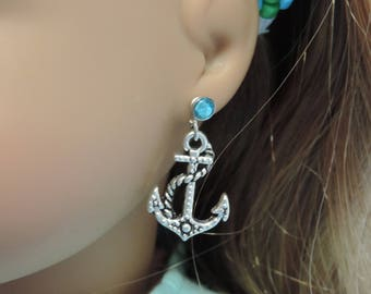 Silver Anchor Earrings for American Girl Dolls and other 18 inch dolls, Beach, Summer, Nautical
