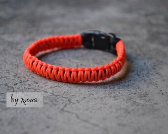 Neon orange, unisex macrame bracelet