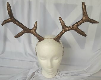 Handmade Deer Antler Rustic Horn Headpiece - Vegan Horns