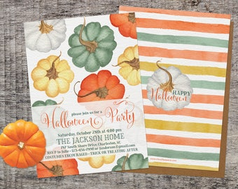 PRINTED Halloween Party Invitation, Rustic Chic Watercolor Pumpkins Halloween Invitation, Colorful Pumpkin Halloween, Adult Halloween Invite