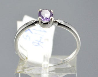 Amethyst Sterling Silver Ring, Rhodium Plated, Natural Gemstone, Amethyst Stackable Ring, February Birthstone