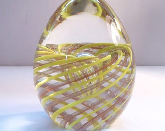 Vintage Hand Blown Art Glass Paperweight - Aventurine and Yellow Swirl - Controlled Bubble