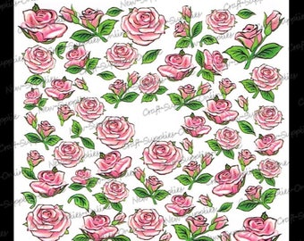 Antique pink transfer roses M370