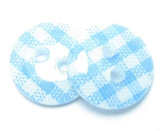 BUTTON 13mm GINGHAM white and blue sky 2 loops