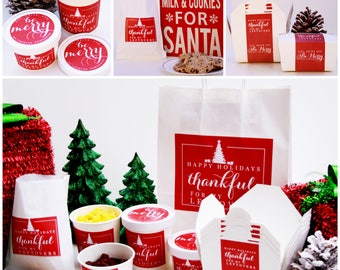 Christmas Take Out Containers, To Go Container, Christmas Cookie, Christmas Dinner, Christmas Label, Holiday Dinner, Christmas Favors
