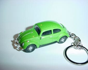 3D Volkswagen Beetle custom keychain by Brian Thornton keyring key chain finished in green stock VW trim bug