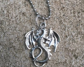 Silver Dragon Pendant Game Of Thrones Inspired Necklace