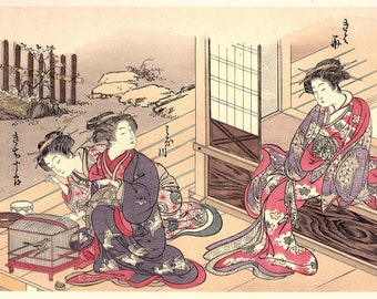 1906, Japanese antique woodblock print, Kitao Shigemasa, from Ukiyoe-ha-gashu.