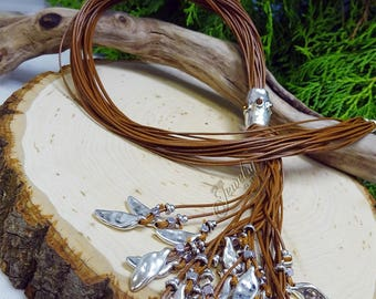 Brown Leather with Matte Silver Drops Lariat Tassel Necklace
