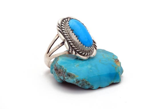 Size 10- Navajo Handmade Turquoise Ring (Oval Stone)