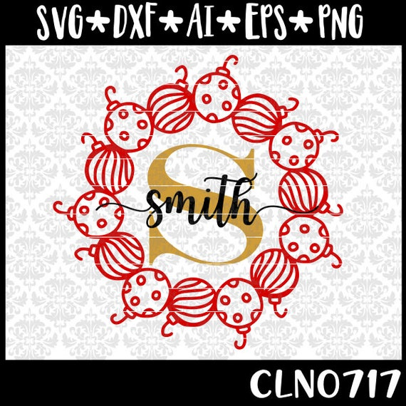 CLN0717 Ornament Wreath Hand Drawn Christmas Decor Frame SVG DXF Ai Eps PNG Vector Instant Download Commercial Cut File Cricut Silhouette
