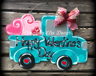 Valentines Door Hanger, Truck Door Hanger, Heart Door Hanger, Door Hanger