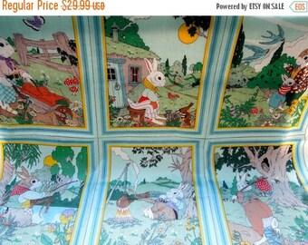 50% SALE Vintage Children Panels Fabric Mr Rabbit Textile Screen Print VAT Colors Preshrunk Cotton Cyrus Clark Seamstress Project Christmas