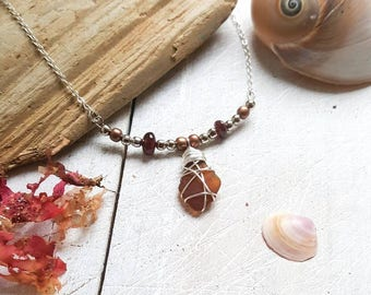 Boho Pendant with Irish Amber Sea Glass & Garnet