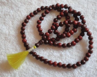 RED SANDALWOOD MALA 108+1 beads Yoga Buddhist Prayer Meditation Fair Trade