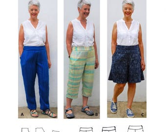 GW TR003 trousers in 2 lengths and culottes have waist yokes, side zip and one side pocket. Original sewing pattern by Sarah Howard