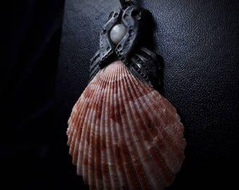 Seaborn Moonstone Shell Pendant
